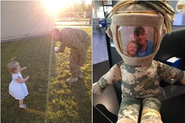 左圖:小凱薩琳(左)總是與軍人爸爸(右)分隔兩地,父女分開很久再見面的這一刻,總是充滿喜悅和溫馨!右圖:爸爸不在家時,大兵玩偶就是爸爸的化身,隨時陪伴著她。(K.E. Whipple Facebook/大紀元合成)