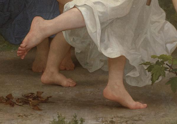 [法]威廉‧布格羅(William Bouguereau)的《青年巴庫斯》(La Jeunesse de Bacchus),表現足部的局部,布面油畫,1884年作,6.09 × 3.35米,私人收藏。(Courtesy of Sotheby's)