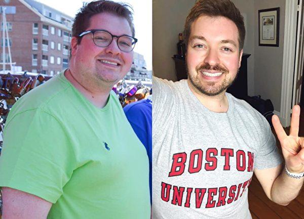 减肥前后的詹德鲁博士。(Kevin Gendreau提供)