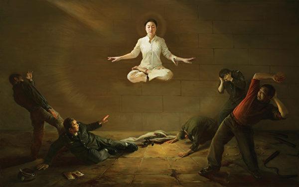 第二届新唐人油画大赛参展作品《震撼》,作者陈肖平。(新唐人电视台)