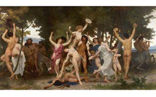 [法]威廉‧布格羅(William Bouguereau)的《青年巴庫斯》(La Jeunesse de Bacchus),布面油畫,1884年作,6.09 × 3.35米,私人收藏。(Courtesy of Sotheby's)