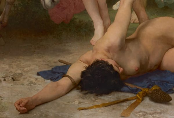 [法]威廉‧布格罗(William Bouguereau)的《青年巴库斯》(La Jeunesse de Bacchus),醉倒女子的局部,布面油画,1884年作,6.09 × 3.35米,私人收藏。(Courtesy of Sotheby's)