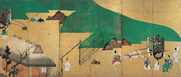 """俵屋宗达,""""源氏物语关屋・澪标图""""屏风,1631年。(大都会艺术博物馆提供)"""