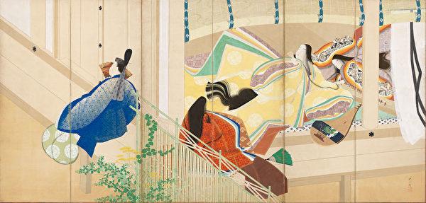 松冈映丘1912年绘制的《源氏物语》主题屏风之一。(大都会艺术博物馆提供)