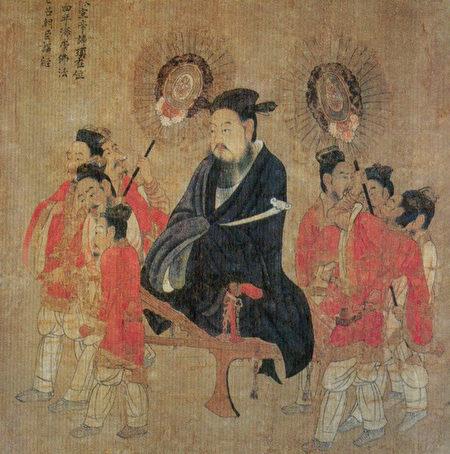陳宣帝陳頊像,出自唐閻立本《歷代帝王圖》。(公有領域)