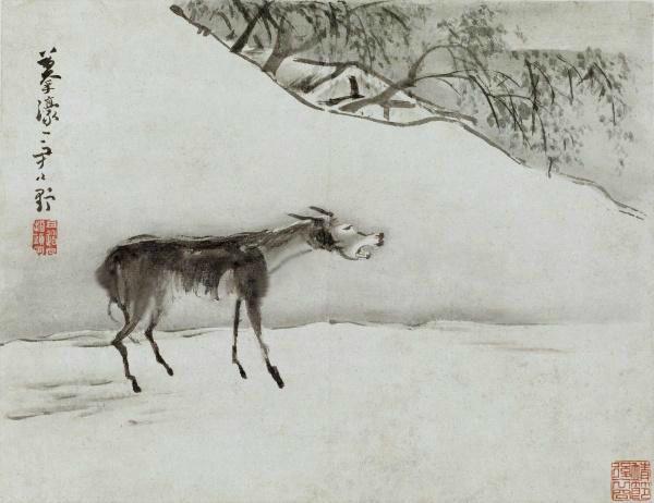 万财主看见一只瘦皮包骨的瞎眼老驴,这驴子身上写着自己的名字。(公有领域/大纪元制图)