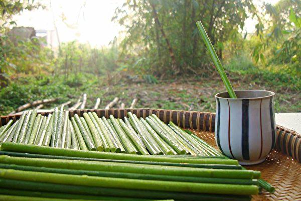 新鮮的「野草吸管」插在飲料杯中,美觀又實用。(Ong Hut Co.提供)
