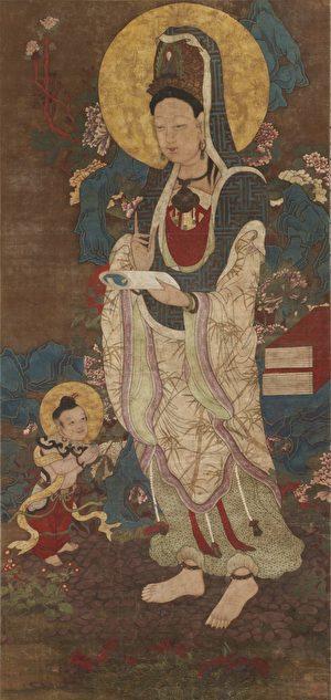 清 佚名《觀音菩薩像》,美國普林斯頓大學美術館藏。(公有領域)