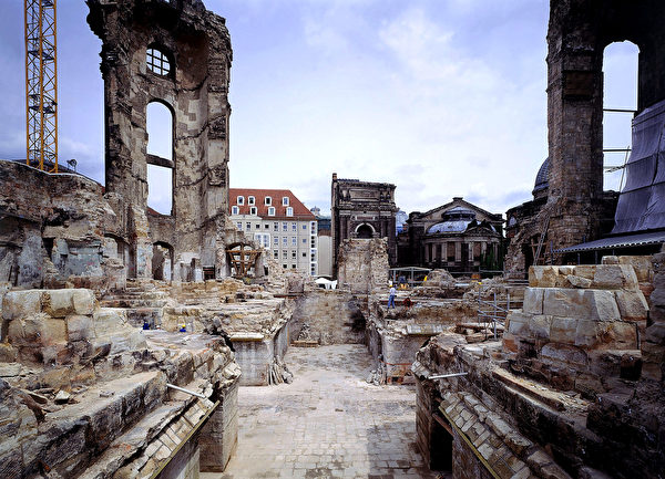 DRESDEN, GERMANY - UNDATED: In this handout photo provided by Stiftung Frauenkirche, the remains of the Frauenkirche Cathedral are shown as the first reconstruction work began in 1994 in Dresden, Germany. The Frauenkirche, which was decimated by Allied bombers in World War II, has been rebuilt in a painstaking and high-tech project since 1994. Ceremonies marking the Frauenkirche's official re-opening are scheduled for the end of October. (Photo by Stiftung Frauenkirche via Getty Images)