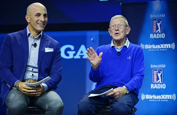 ORLANDO, FL - JANUARY 25: PGA of America CEO Pete Bevacqua and Lou Holtz on the SiriusXM Town Hall at the PGA Merchandise Show on January 25, 2018 in Orlando, Florida. (Photo by Gerardo Mora/Getty Images for SiriusXM)