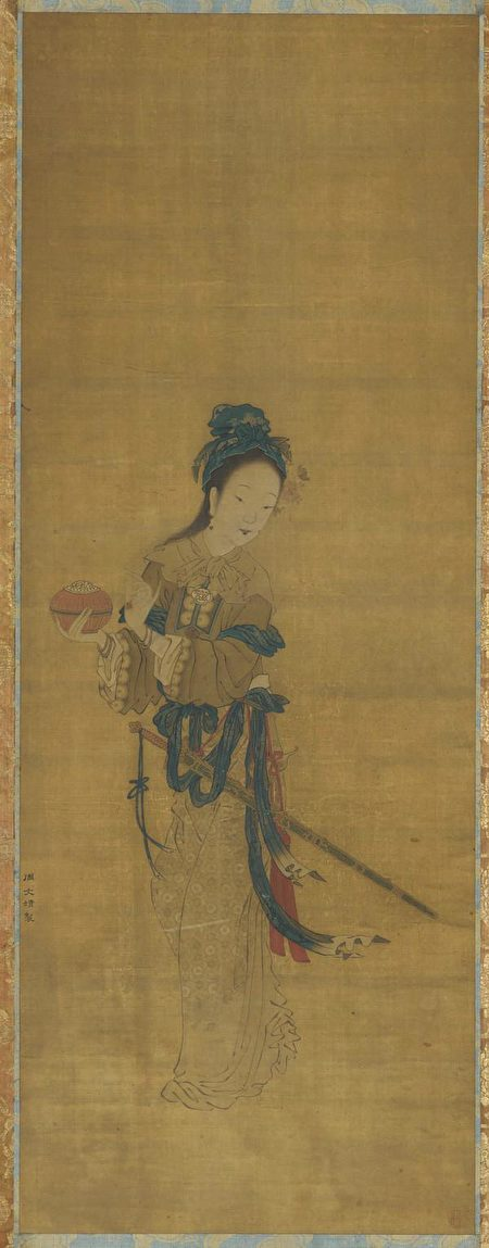 明周文靖绘绢本木兰像,美国弗利尔美术馆藏。(公有领域)