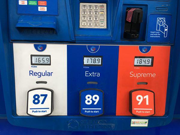 溫哥華的油價在$1.649的北美最高紀錄徘徊了幾天後,4月11日又站在了一個新的高度,達到了$1.659/升。圖為ESSO加油站的油價。(童宇/大紀元)