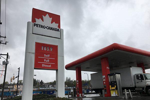 温哥华的油价在$1.649的北美最高纪录徘徊了几天后,4月11日又站在了一个新的高度,达到了$1.659/升。图为Petro-Canada加油站的油价。(童宇/大纪元)