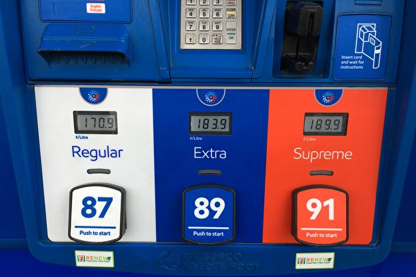 4月17日,大溫哥華地區的油價再漲一分,達到$1.709/升,成為北美的最新紀錄。(童宇/大紀元)