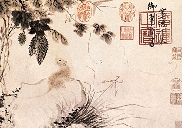 明 朱瞻基《苦瓜鼠图卷》,纸本淡设色,北京故宫博物院藏。(公有领域)