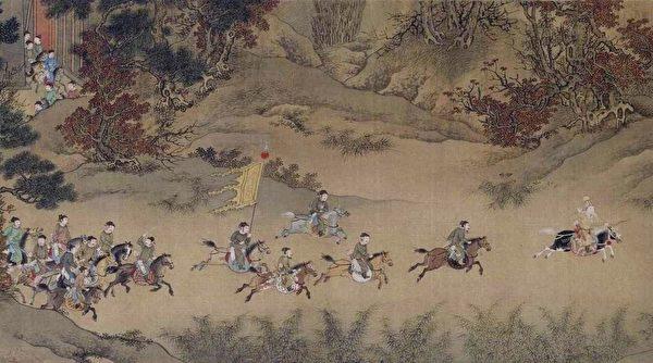 明仇英临萧照《中兴瑞应图》卷描绘高宗出使金营片段,北京故宫博物院藏。(公有领域)