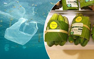 香蕉叶包菜好环保 泰国超市减塑出妙招