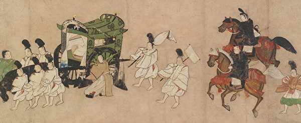《源氏物语绘卷(澪标)》,14世纪晚期至15世纪早期。(大都会艺术博物馆提供)