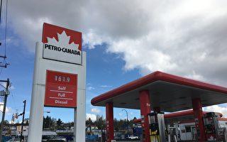 大温油价正在快速上涨。油价专家预测,大温哥华的油价将在周五冲至$1.649/升的新高。图为周四大温油价大多为$161.9/升,个别加油站甚至冲到$163.9/升,为今年最高油价。(童宇/大纪元),