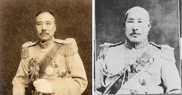 施剑翘的父亲施从滨(右)是奉系军阀张宗昌(左)所部第二军军长、前敌总指挥。(公有领域/大纪元合成)