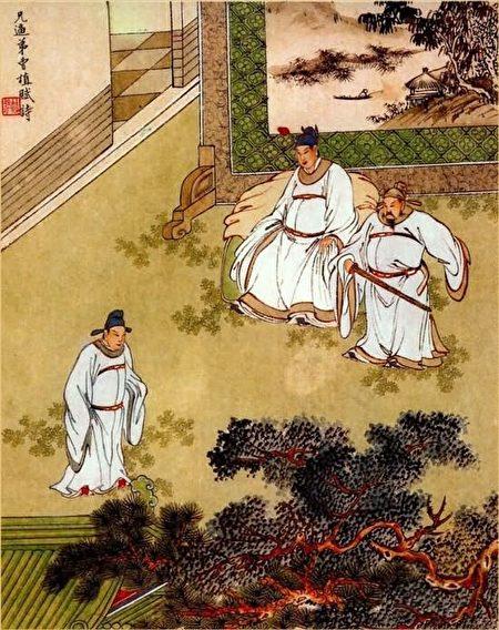 金協中彩繪《三國演義》第七十九回插圖,兄逼弟曹植賦詩。(公有領域)