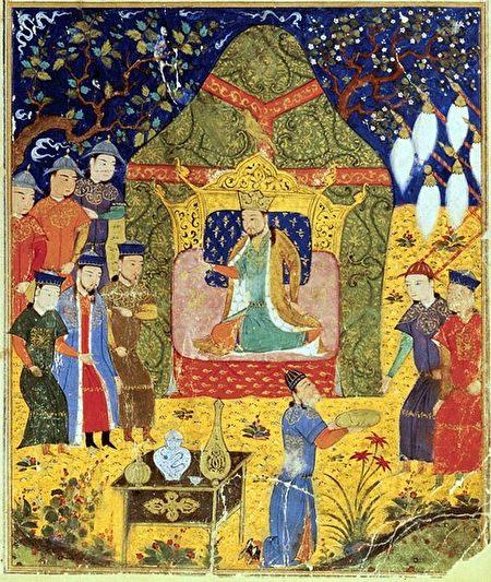 拉施德丁所著《史集》(Jami al-Tawarikh)中描繪的成吉思汗加冕圖。(公有領域)