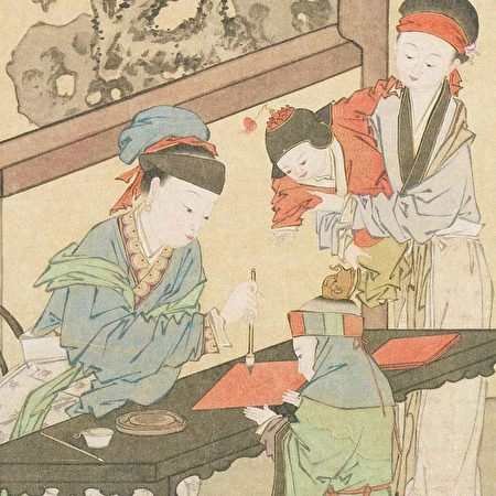清 金廷标《曹大家授书图》,台北故宫博物院藏。(公有领域)