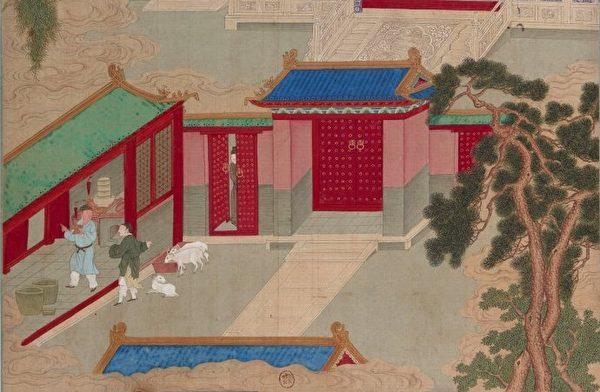 《帝鑒圖說》插圖《夜止燒羊》。(公有領域)