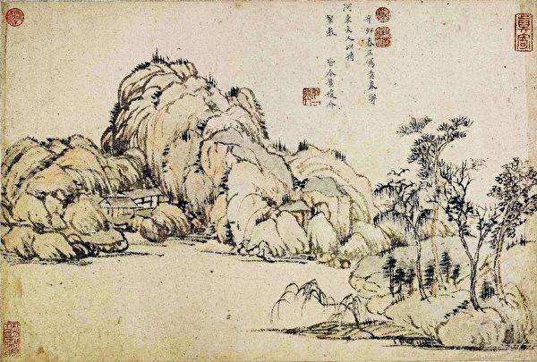 柳如是的写生山水画《月堤烟柳图》,北京故宫博物院藏。(公有领域)