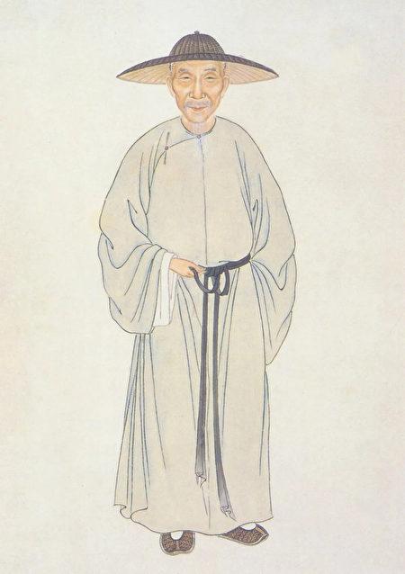 杨鹏秋摹绘《钱谦益像》,出自《清代学者像传》第二集。(公有领域)