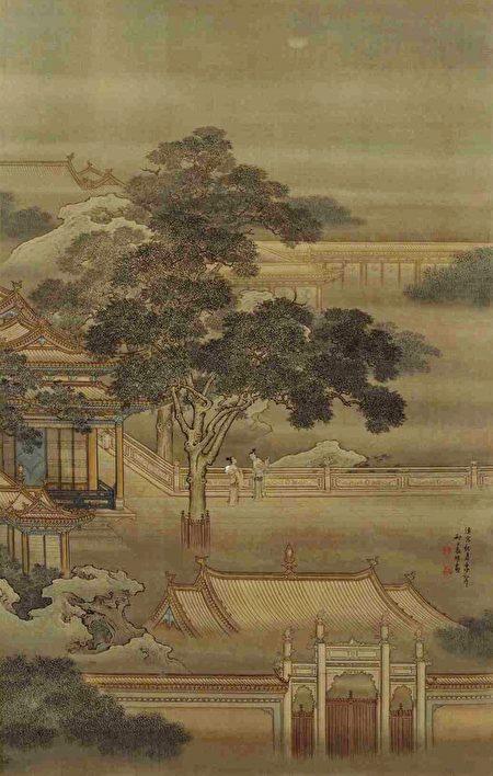 清 袁耀《汉宫秋月图》轴(局部)。(公有领域)
