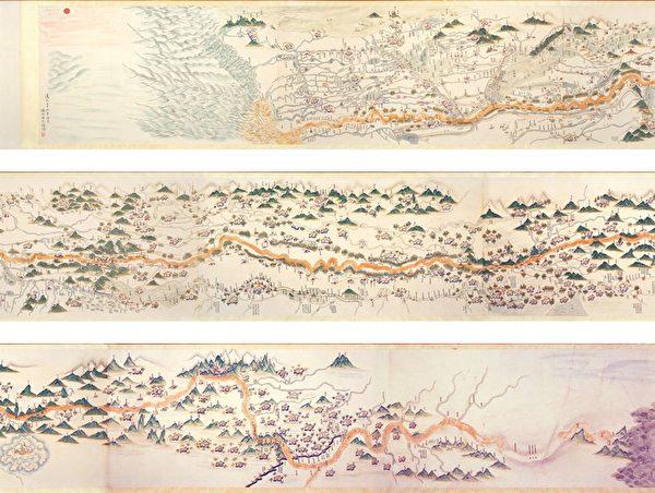 康熙中期由河道总督张鹏翮绘制的《黄河全图》,台北故宫博物院藏。(公有领域)