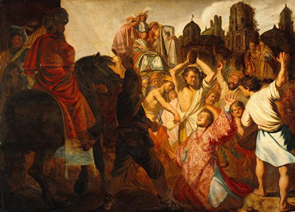 [荷]伦勃朗(Rembrandt Van Rijn),《被处以石刑法的圣斯德旺》,法国里昂美术馆藏。(公有领域)