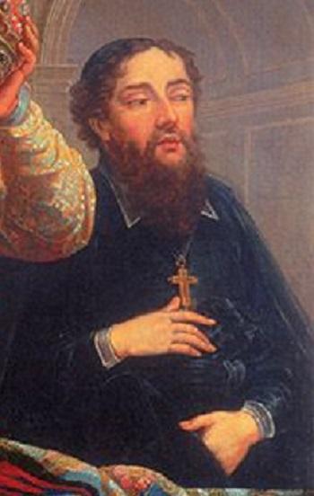 法国画家杜普莱西斯(Jacques Vigouroux Duplessis)所绘《泰国使节》中的主教梁宏仁像。(公有领域)