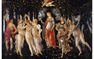 [意] 桑德罗·波提切利(Sandro Botticelli,1445—1510),《春》(Primavera),木板蛋彩画,202 × 314 cm,佛罗伦萨乌菲兹美术馆藏。(公有领域)