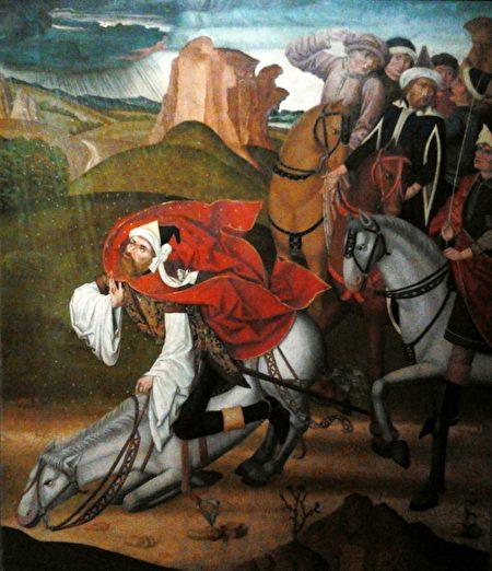15世纪佚名大师作《圣保罗的改宗》,波兰华沙国家博物馆藏。(公有领域)