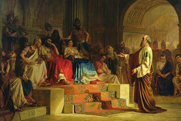 [乌克兰]波达列夫斯基绘《圣保罗的审判》。(公有领域)