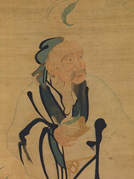 明缂丝蟠桃献寿图中的东方朔,纽约大都会美术馆藏。(公有领域)