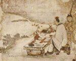 日本市町時代狩野正信繪《西王母與東方朔圖》(局部)。(公有領域)