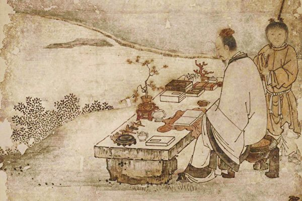 日本市町时代狩野正信绘《西王母与东方朔图》(局部)。(公有领域)