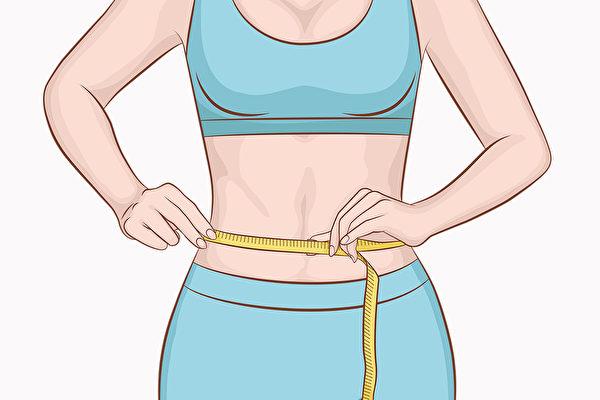 量腰围的方法是,在呼气时,用卷尺测量肚脐上方腰部最窄的部分。(Shutterstock)