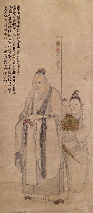 清 鲍楷绘东方朔,美国沃尔特斯艺术博物馆藏。(公有领域)