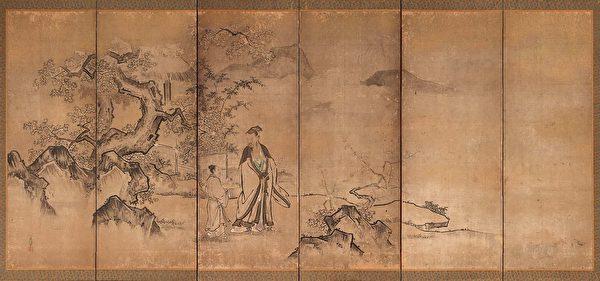 日本市町时代狩野正信绘东方朔,美国波士顿艺术博物馆藏。(公有领域)