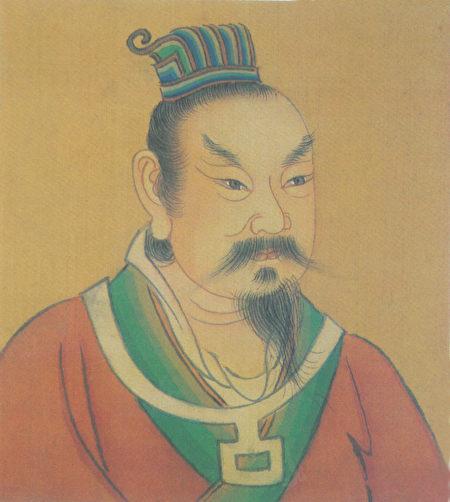 清代彩绘后梁太祖朱温像。(公有领域)