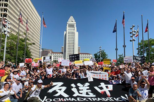 """组图:洛杉矶声援香港""""反送中""""大游行"""