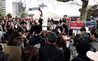 新西蘭港人聲援反送中 數百人穿黑衣集會