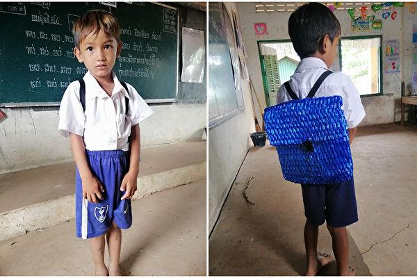 """柬埔寨五岁男孩耿(NT Keng)要上学,而家里缴完学费后已经没钱买书包了,于是爸爸亲自为他缝制了超经典的尼龙绳背包,网友赞""""好感动又好时尚!""""(Sophous Suon/大纪元合成)"""