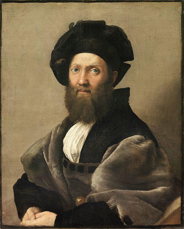 拉斐爾,《巴達薩列.卡斯提里奧尼畫像》(Ritratto di Baldassarre Castiglione),作於約1514—1515年,布面油畫,82 × 67公分,路易十四藏畫系列,法國巴黎盧浮宮藏。(公有領域)
