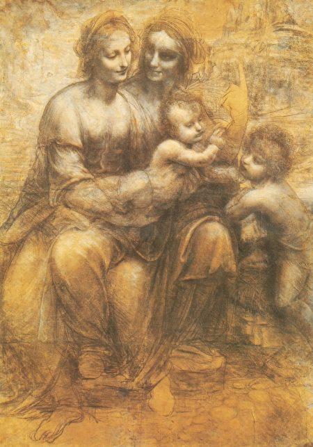 達芬奇作於1500—1505年間的素描《聖母子與聖安娜、施洗者聖約翰》(Cartone di sant'Anna),收藏於英國國家畫廊。(公有領域)