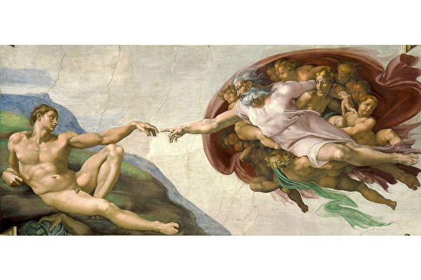 米開朗基羅《創造亞當》(The Creation of Adam),梵蒂岡西斯廷禮拜堂天頂畫《創世記》局部。(公有領域)